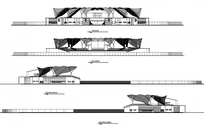 Commerce building structure detail 2d view elevation file in autocad format