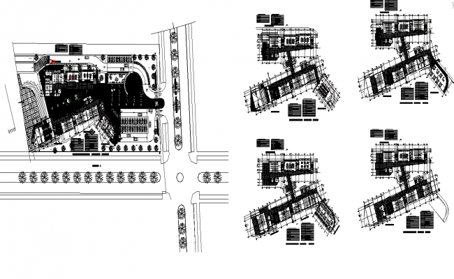 Commerce building structure detail plan 2d view layout dwg file