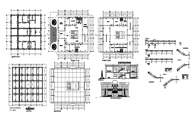 Commerce store building detail elevation, plan and section layout dwg file