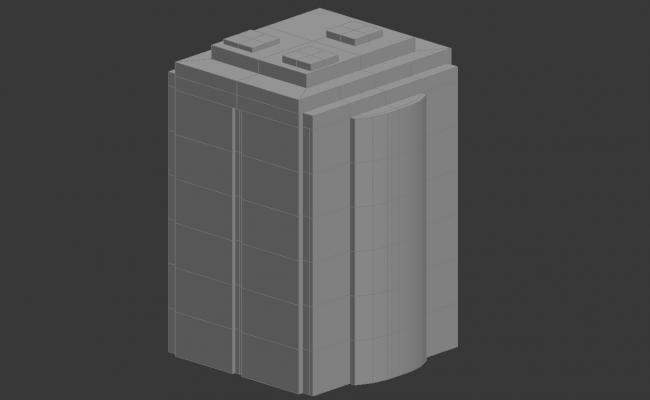 Commercial  Building Block Elevation 3D MAX File Free