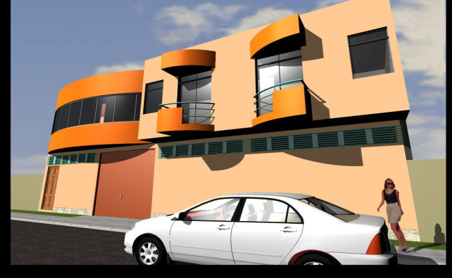 Commercial 3 D building side elevation plan detail dwg file