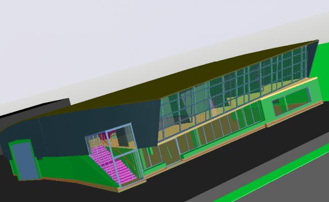 Commercial 3D plan detail dwg file