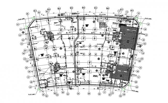 Commercial Building Center Line Plan And Foundation Plan DWG File