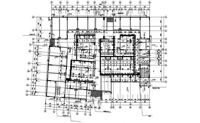 Commercial Building Column Layout Plan DWG File