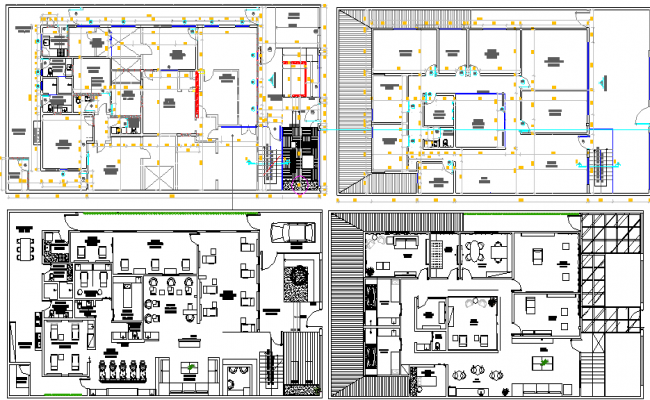 Commercial Building Design and Elevation dwg file