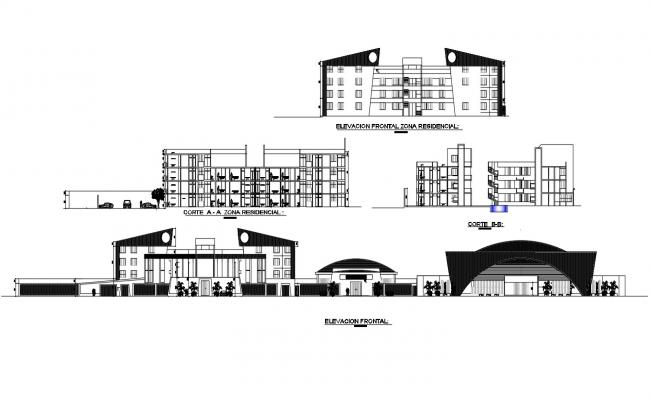 Commercial Building Elevation View drawing