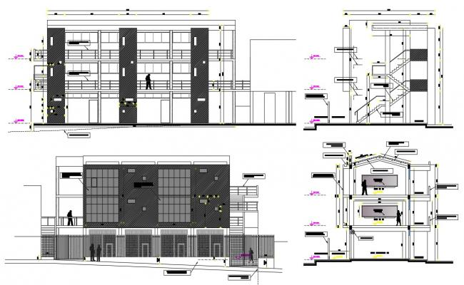 Commercial Building Elevations CAD Drawing