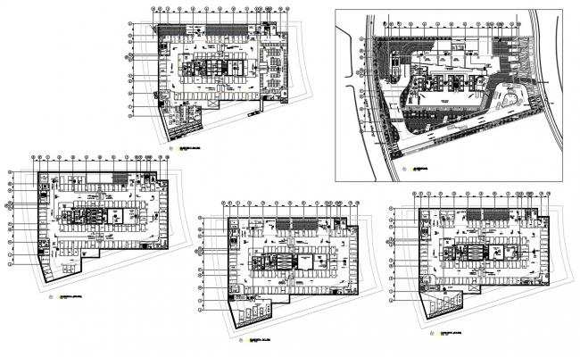 Commercial Building Floor Plan With Parking AutoCAD File