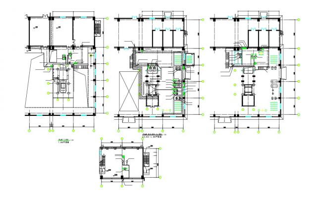 Commercial Building Floor Plan With Structure Design AutoCAD File