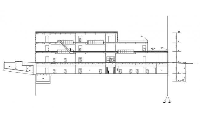Commercial Building Free Section CAD Drawing