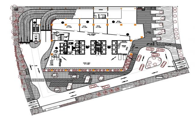 Commercial Building Ground Floor Plan AutoCAD File