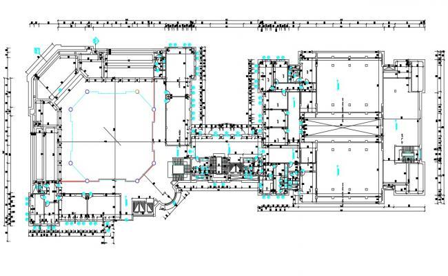 Commercial Building Mezzanine Floor Plan AutoCAD Drawing