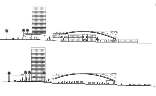 Commercial Complex Elevation CAD Drawing