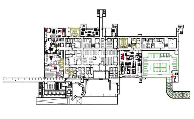 Commercial Office Building Layout Architecture Plan Download CAD Drawing