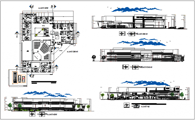 Commercial Office building plan view detail dwg file