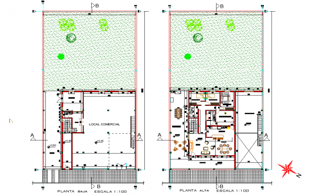 Commercial and detached house plan dwg file