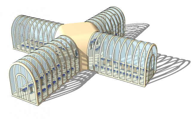 Commercial building 3d model detail elevation autocad file