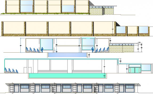 Elevation Plan Description : Commercial building elevation plan detail dwg file