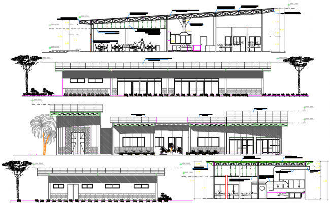 Commercial building Elevation working detail dwg file