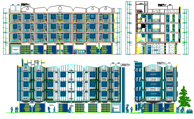Commercial building all sided elevation and sectional details dwg file