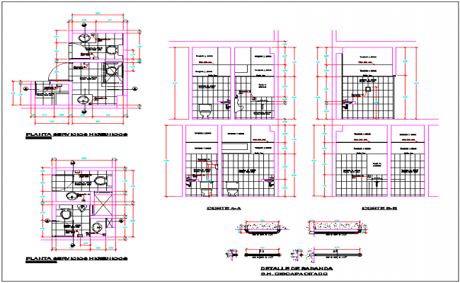 Commercial Building Bathroom Plan View Detail Dwg File
