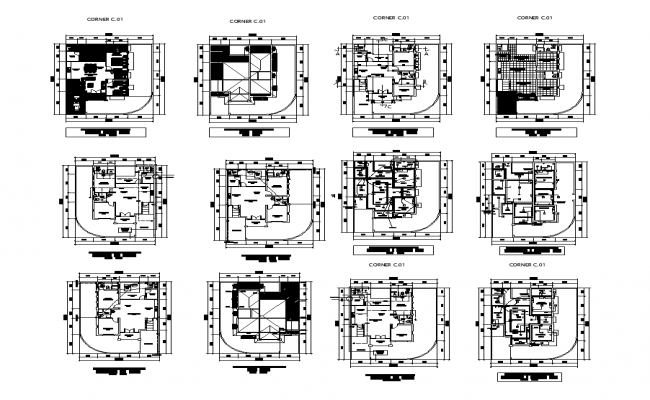 Commercial building detail plan autocad file