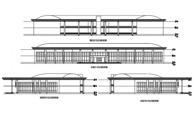 Commercial building elevation Architecture 2d drawing