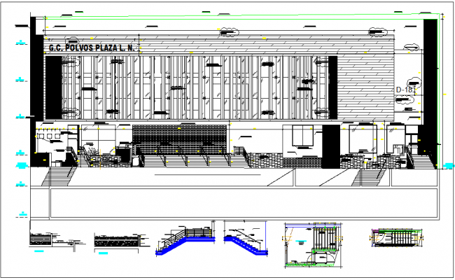 Commercial building elevation, plan view,stairs section view detail dwg file