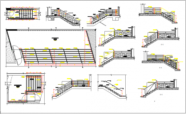 Commercial Building Elevation, Plan View, Stairs Section View Detail Dwg  File