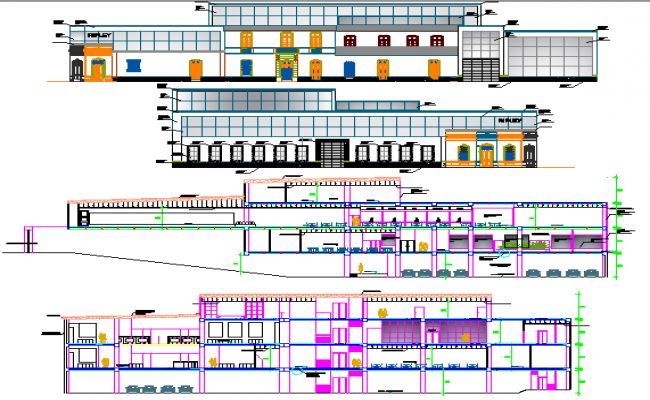 Commercial building elevation and section details dwg file