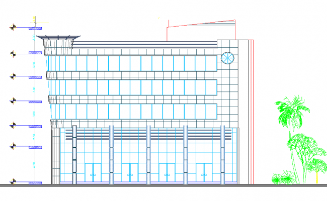 Commercial building elevation view dwg file
