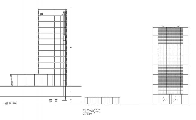 Commercial building elevations in dwg file