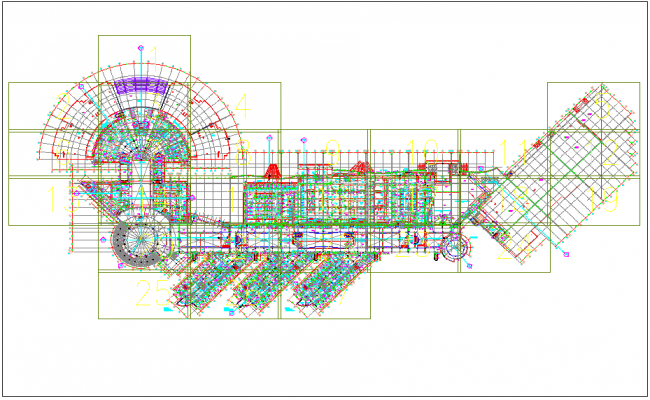 Commercial building first floor plan layout dwg file