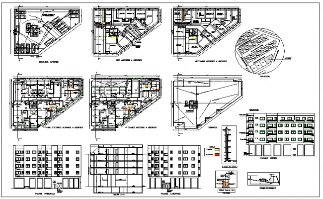 Commercial building floor plan detail and elevation view for Commercial building floor plan
