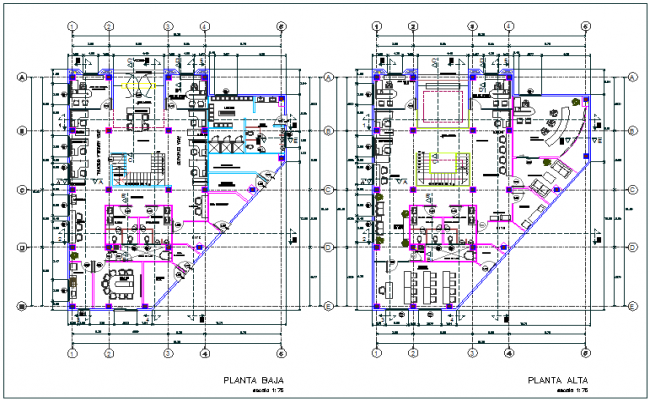 Commercial building floor plan detail dwg file