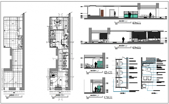 Commercial building floor plan detail view dwg file