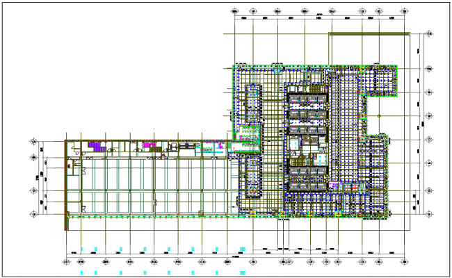 Commercial building floor plan detail with roof projection view dwg file