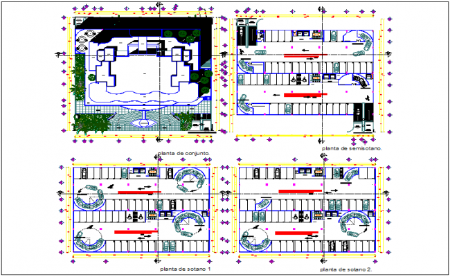 Commercial building floor plan view detail dwg file