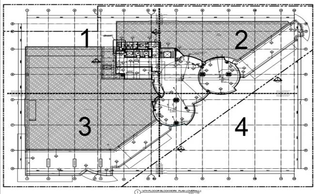 Commercial building floor plan with all detail