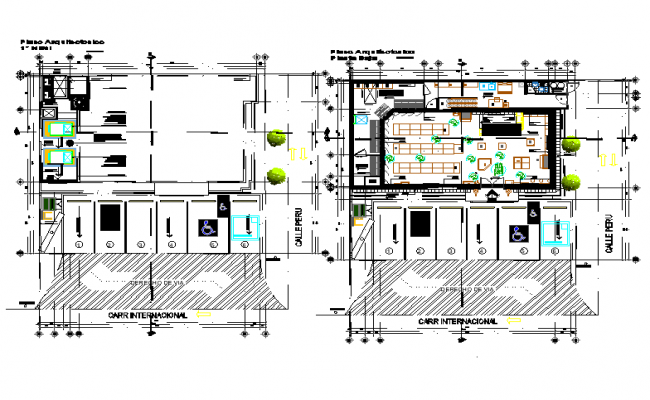 Commercial building floor plan with architecture view dwg file