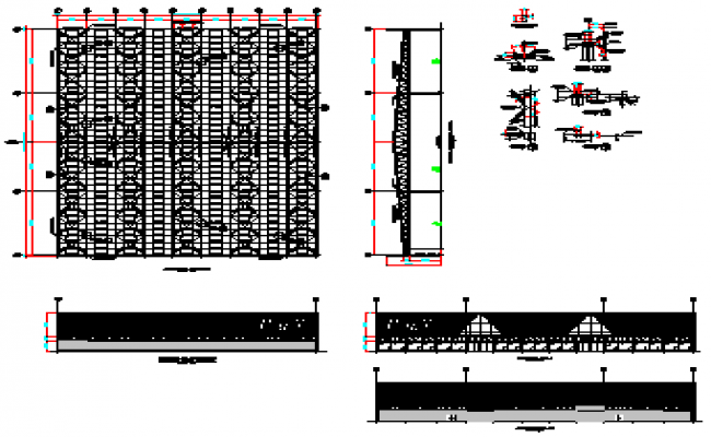Commercial building in steel design drawing