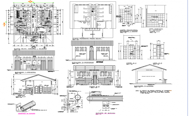Commercial building plan, elevation and section detail dwg file