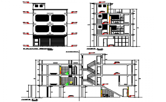 Commercial building plan center line plan detail dwg file