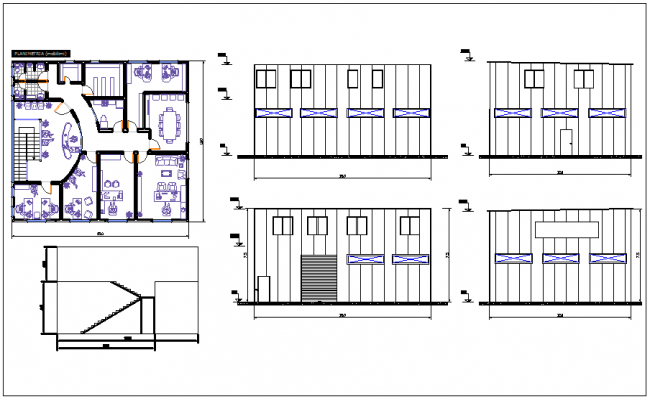 Commercial building plan detail view dwg file