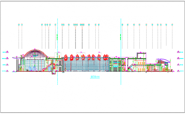 Commercial building section element detail dwg file