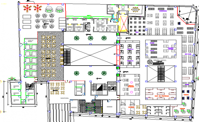 Commercial center architecture layout plan details dwg file