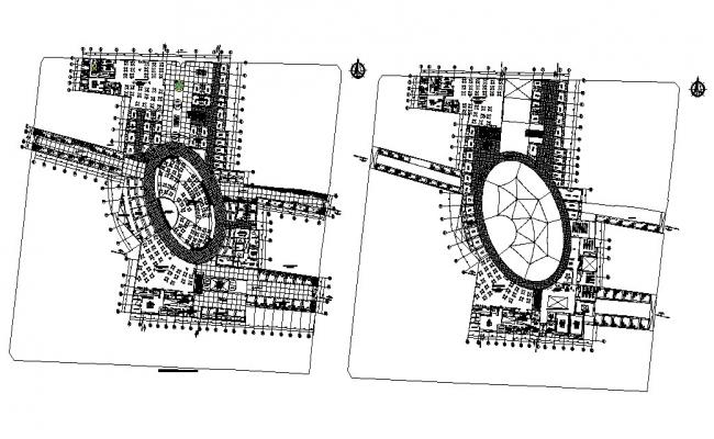 Commercial center building ground and first floor plan details dwg file