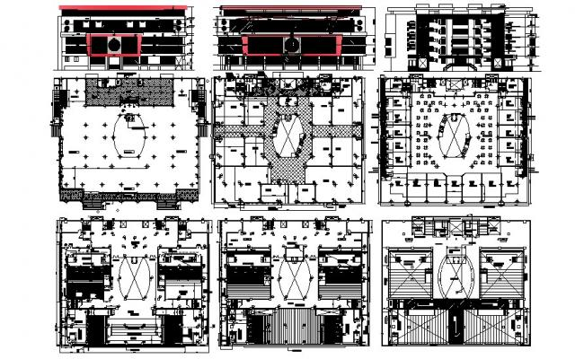 Commercial Complex Design Elevation Section In DWG File