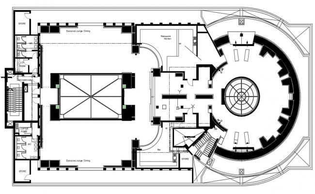 Commercial complex design AutoCAD drawing download