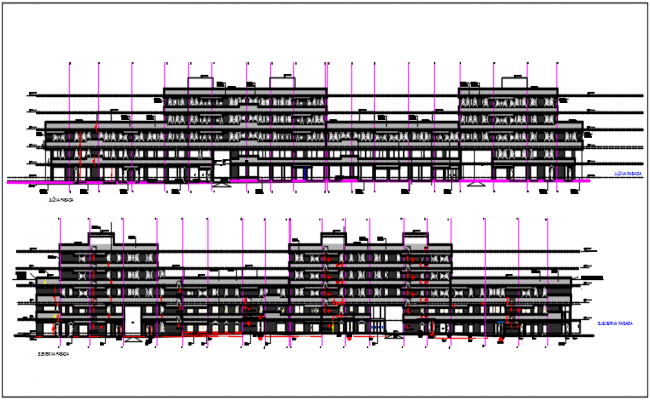 Commercial elevation plan detail dwg file